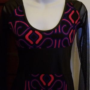 Dresses & Skirts - Beautiful pattern spandex dress with faux/ mesh